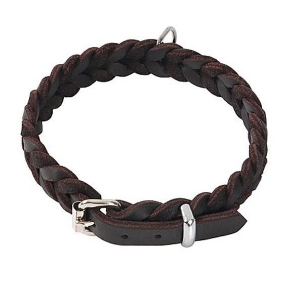 Geflochtenes Hundehalsband aus Fettleder