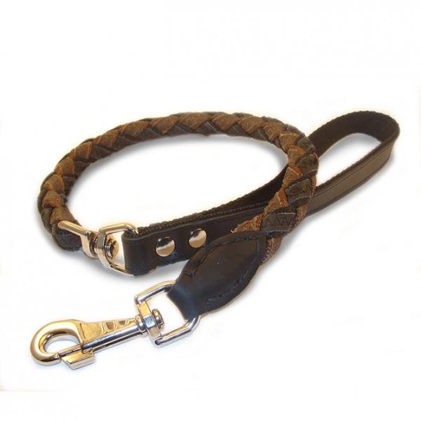 Kurzleine aus Leder ca. 90 cm (Drehverbindung, Geflochten)